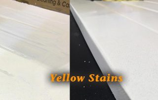 caesarstone stain yellow discoloured